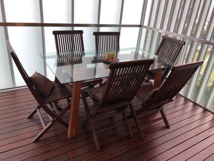 Exceptionnel Dining Table And Chairs Balinese Teak Wood