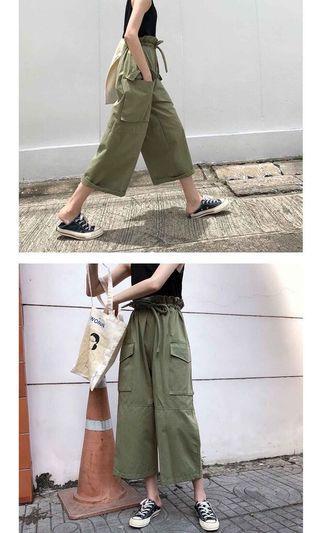 軍綠工裝闊褲
