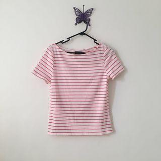 ribbed red & white striped top