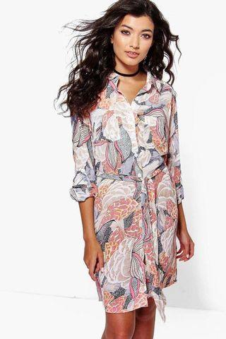 Floral Tie Waist Shirt Dress - size 8 - BRAND NEW WITH TAGS
