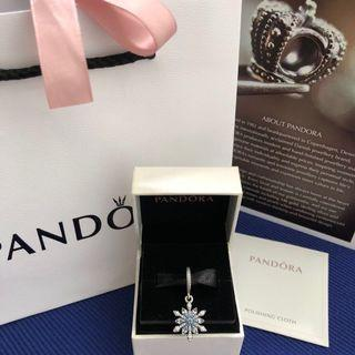Pandora Snowflake Silver Dangle Charm, can use for necklaces, chains and bracelets