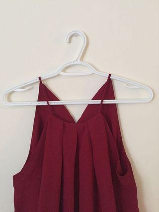 Red Sleeveless High Neck Top