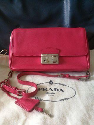 Authentic Prada Eye Candy reddish pink leather shoulder sling bag #Endgameyourexcess