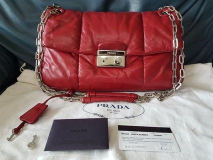 🚚 Authentic Prada Nappa Bomber red cherry leather shoulder bag