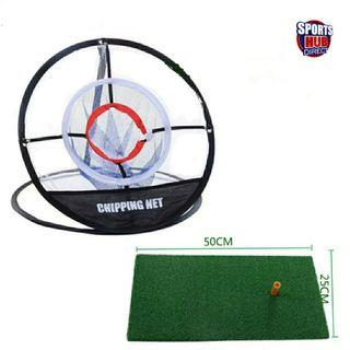 Golf Hitting Mats with Portable Golf Chipping Net Indoor Outdoor Golf Training Set with Rubber Tee,Golf Ball Golf Practice Mat Practice Golf Swing Chipping Anytime Anywhere