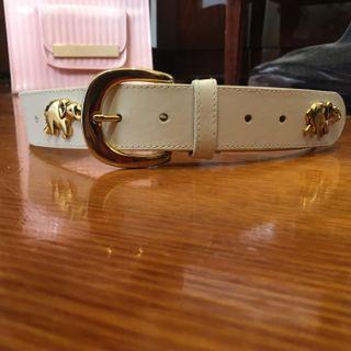 White and gold leather belt