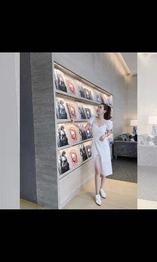 🚚 White Crochet Midi Dress