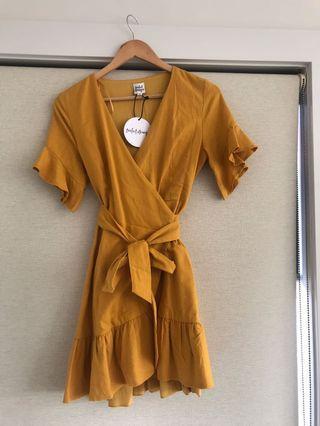 Women's linen wrap dress.