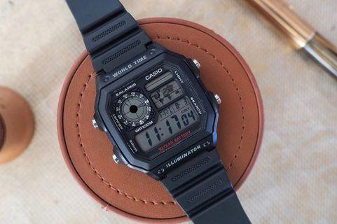 Casio AE-1200WH-1A Rubber Digital Watch Casio Royale (AE1200 AE-1200)