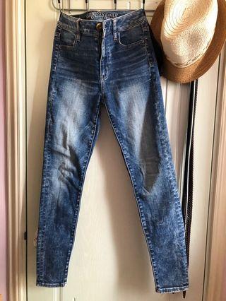 American eagle aeo 深藍洗水牛仔褲 dark blue jeans