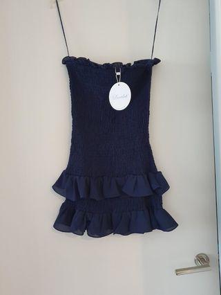 Navy boob tube frill dress - Size 8 BNWT