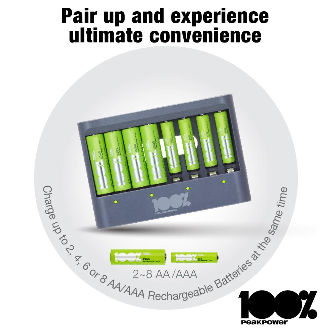 100% Peak Power USB Battery Charger With 4 X AA 4 X AAA Gift Box Set