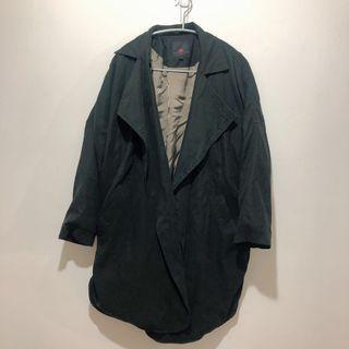 🚚 黑色長版風衣外套