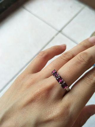 紫牙烏 石榴石 方形 戒指