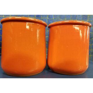 橙色陶瓷柸