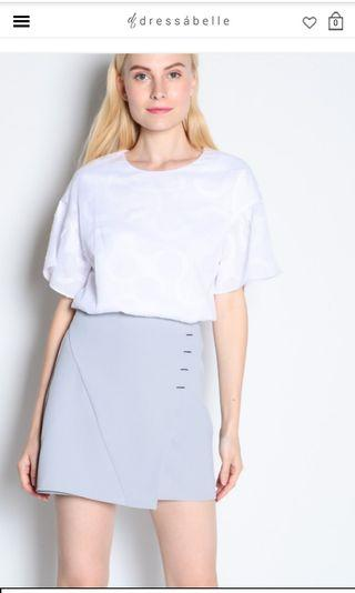 Dressabelle - Stitched Side Overlap Skirt (Grey)