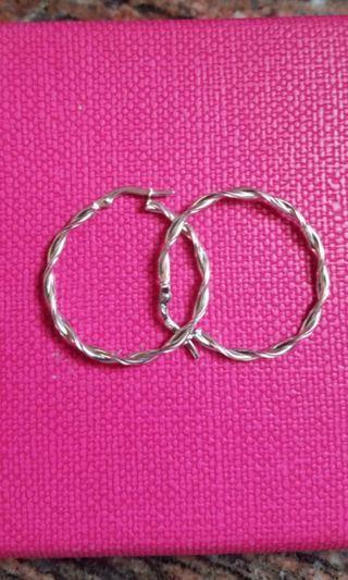 14K585 White Gold 28mm Loop Earrings 14K585 白金耳圈耳環 Italy Made