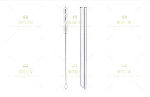 環保飲管套裝 玻璃斜口粗管(1枝)贈品:便攜收納盒、清潔毛刷、清潔抹布