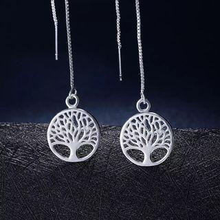 Sterling silver Tree Of Life earrings on long chain