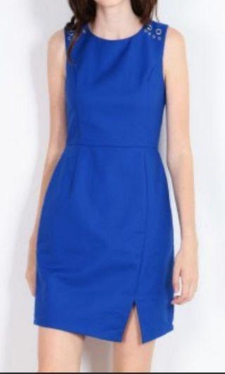 Dressabelle - Studded Ring Shoulder Executive Dress (Ultramarine)