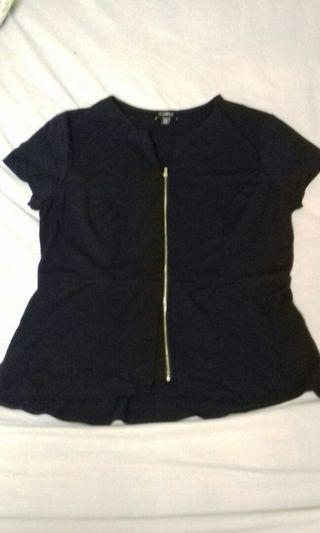 XL Navy Blue Le Cheatau Peplum Blouse #SwapCA