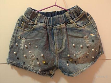🚚 女童短牛仔褲裝飾 約100~120cm