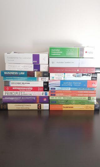 Assorted business and commerce textbooks