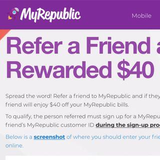 🚚 C1151783 MyRepublic Referral Code (promo) $40 (FREE)