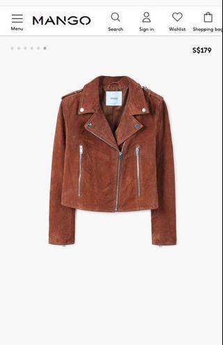 Brand New Mango Suede Biker Jacket (Brown)