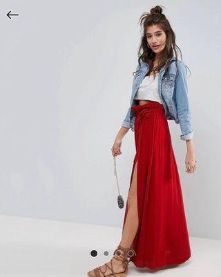 🚚 紅色渡假風棉麻高腰開叉長裙