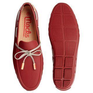 絕版品 英國品牌 Mocks 莫卡辛鞋 樂福鞋 雨鞋 防水材質 紅色/UK7
