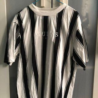 🚚 guess striped shirt black and white