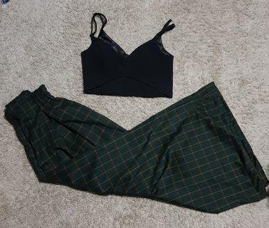 Emerald set || Forest green and yellow checkered/grid/plaid wide legged elastic waist Palazzo Pants korean ulzzang and TEM/the editor's market cut out black bralet/bralette