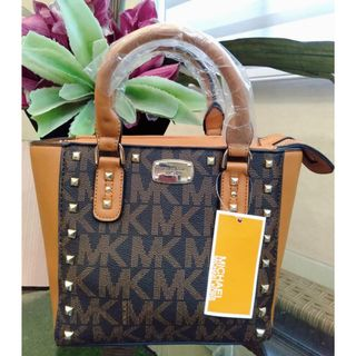 0c1d503b2edd Michael Kors Kellen Studded Signature Brown Acorn Canvas Satchel Bag HandBag  Sling Crossbody Bag MK Collections
