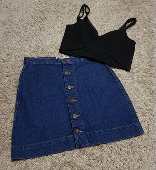 Melanie set || TEM/the editor's market cut out black bralet/bralette and denim Button Down Skirt american apparel inspired