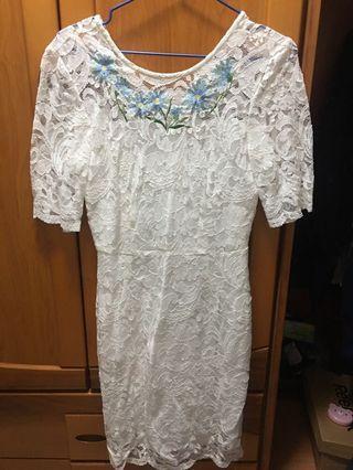 31白色蕾絲五分袖洋裝