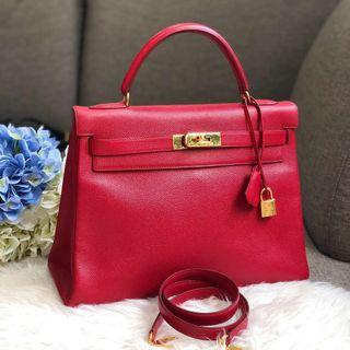 ❤️Superb Deal!❤️ CNY Perfect! Hermes Vintage Kelly 32 in Rouge Vif Courcheval Leather GHW