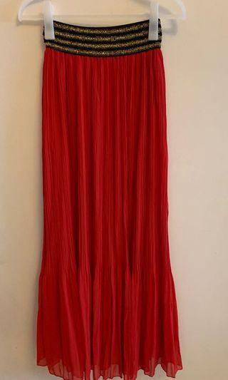Elle Red Pleated Skirt