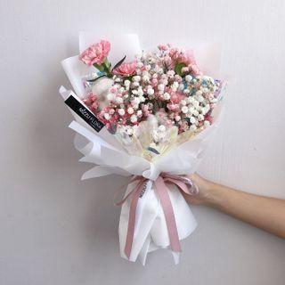 Mother's Day carnation bouquet | carnation flower | Mother's Day Gift | Fresh flower | Babys breath | birthday flower | flower delivery |康乃馨花束 |母亲节花束 |电话运送