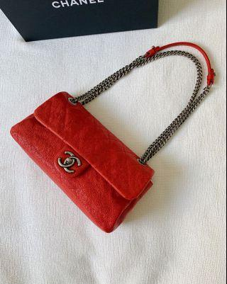 100% Authentic CHANEL Bright Red Caviar Flap bag, Silver Hardware, 3Way