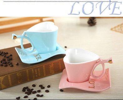 🚚 歐式心形咖啡杯盤組(粉)