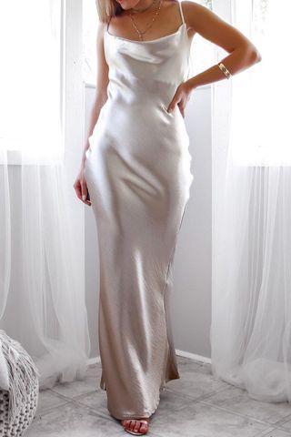 Gold silk slip dress