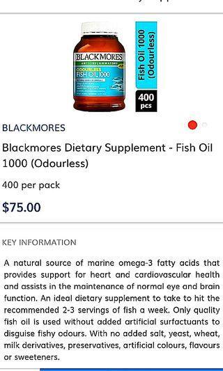 🚚 Fish Oil 1000, 400caps Odourless