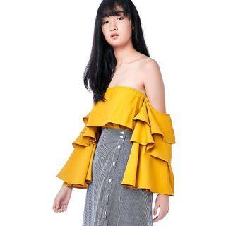 🚚 TEM Zaydie Tiered Sleeve Top Marigold