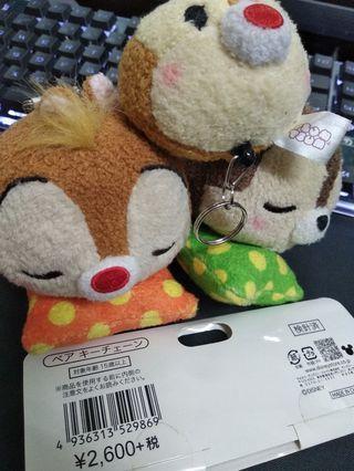 Disney 迪士尼 奇奇蒂蒂 Chip'n'Dale 睡覺抱枕 吊飾 日本 鑰匙圈