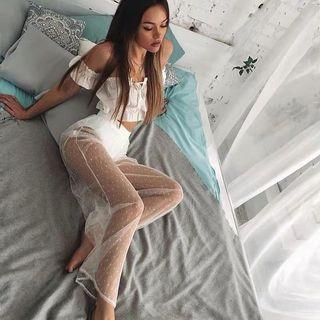 polka dot mesh pants