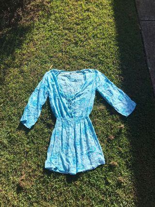 blue hippie jumpsuit