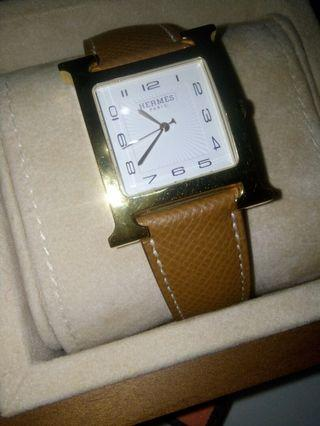 (AUTHENTIC) HERMES WATCH:  HEURE H 21x21 mm