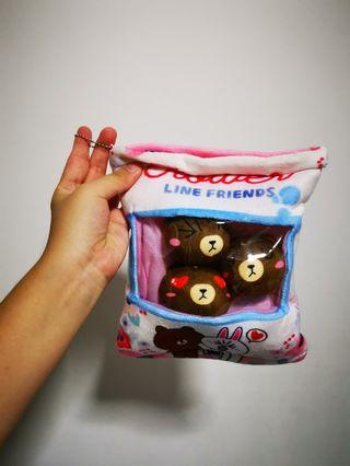 Brand new line brown bear softtoys in a bag keychain