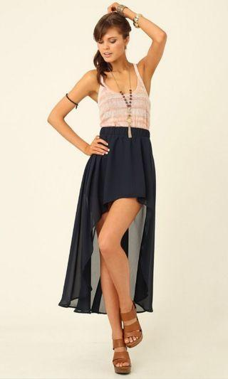 Supre Asymmetrical Chiffon Skirt in Navy